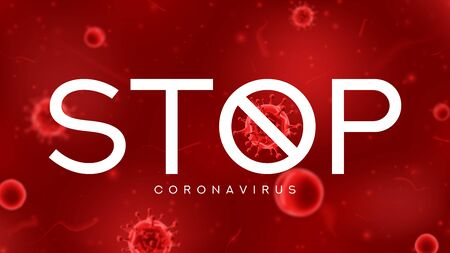 Stop coronavirus symbol concept. Banner concept with red virus cells. Vector illustration with 3d microscopic coronavirus bacterias. Coronavirus microbe cells in infected blood. Ilustracja