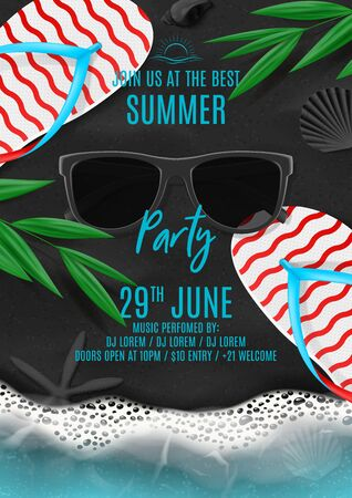 Summer party poster template. Vector illustration with top view on ocean scene with flip flops, sea waves, tropical leaves, sunglasses on black volcanic sand. Invitation to nightclub.