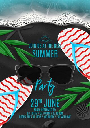 Summer party flyer template. Vector illustration with top view on ocean scene with flip flops, sea waves, tropical leaves, sunglasses on black volcanic sand. Invitation to nightclub.