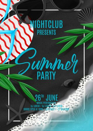 Summer party poster invitation. Vector illustration with top view on ocean scene with flip flops, sea waves, tropical leaves, sunglasses on black volcanic sand. Invitation to nightclub. Ilustracja