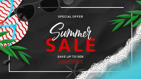Summer sale banner template. Top view on beach with sea waves. Beautiful background with seashells, tropical leaves, sunglasses and flip flops on sea black sand. Vector illustration. Ilustracja