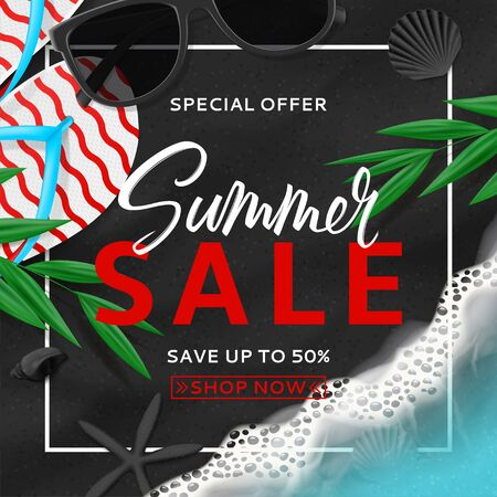 Summer sale background template. Top view on beach with sea waves. Beautiful background with seashells, tropical leaves, sunglasses and flip flops on sea black sand. Vector illustration.