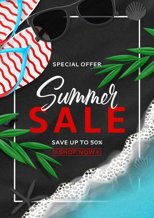 Summer sale flyer template. Top view on beach with sea waves. Beautiful background with seashells, tropical leaves, sunglasses and flip flops on sea black sand. Vector illustration. 向量圖像