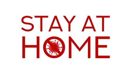 Stay at home symbol concept. Banner concept with red virus cell. Vector illustration with 3d microscopic coronavirus bacteria. Coronavirus microbe cell.
