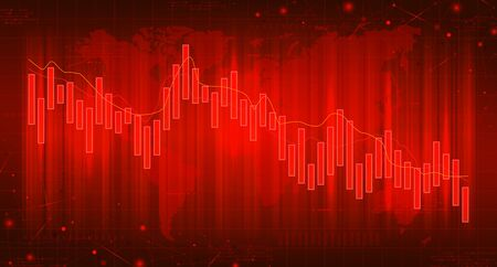 Red banner with financial falling charts. Concept of digital stock market trading. Vector illustration. Abstract background with technology business diagrams.