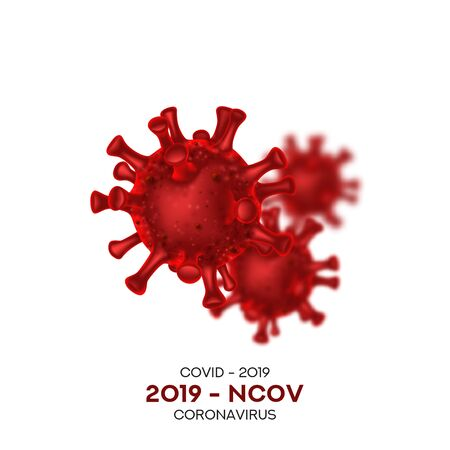 Coronavirus cells isolated on white background. Vector illustration with 3d microscopic Virus Covid 19-NCP. 3d realistic Coronavirus 2019-nCoV.