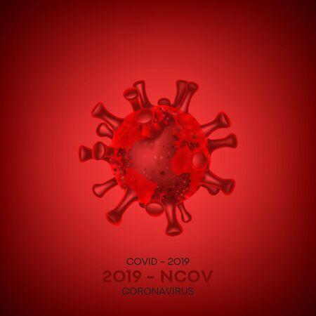 Coronavirus cell isolated on red background. Vector illustration with 3d microscopic Virus Covid 19-NCP. 3d realistic Coronavirus 2019-nCoV. Ilustracja