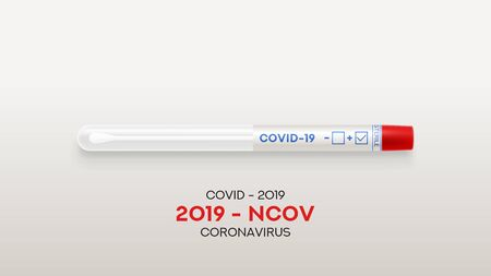 Test tube with cotton swab for nasopharyngeal specimens. Realistic tube for testing in laboratory on coronavirus SARS CoV-2. Nasopharyngeal test for determination Covid-19 NCP. Vector illustration.