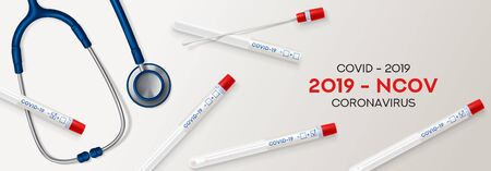 Test tubes with cotton swab for nasopharyngeal specimens. Realistic tube for testing in laboratory on coronavirus SARS CoV-2. Nasopharyngeal test for determination Covid-19 NCP. Vector illustration.