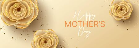 Happy Mother's Day horizontal banner. Holiday greeting card with realistic 3d gentle flowers with golden sand. Vector illustration with paper roses and gold confetti. Zdjęcie Seryjne - 143845591