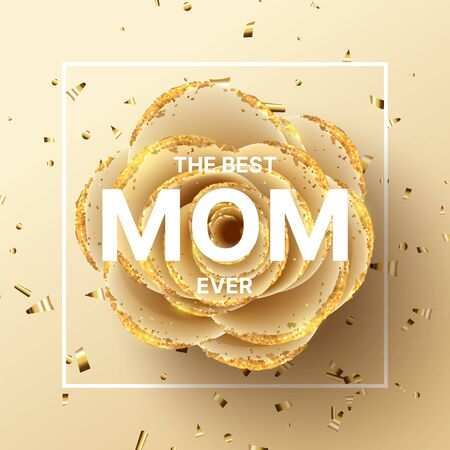 Happy Mother's Day background. Holiday greeting card with realistic 3d gentle flower with golden sand. Vector illustration with paper rose and gold confetti.