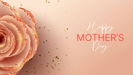 Happy Mother's Day banner template. Holiday greeting card with realistic 3d gentle flower with golden sand. Vector illustration with paper pink rose and gold confetti. Zdjęcie Seryjne - 143854161
