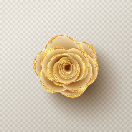 Paper flower isolated on checkered background. Realistic 3d gentle flower with golden sand. Vector illustration. Ilustracja