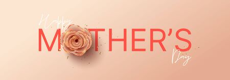 Happy Mothers Day horizontal banner template. Holiday greeting card with realistic 3d gentle flower with golden sand. Vector illustration with pink paper rose and gold confetti.