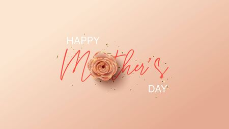 Happy Mother's Day card template. Holiday greeting card with realistic 3d gentle flower with golden sand. Vector illustration with paper pink rose and gold confetti. Ilustracja