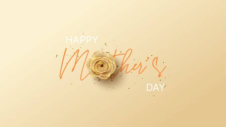 Happy Mother's Day card. Holiday greeting card with realistic 3d gentle flower with golden sand. Vector illustration with paper rose and gold confetti. Ilustracja