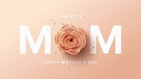 Happy Mother's Day card template. Holiday greeting card with realistic 3d gentle flower with golden sand. Vector illustration with paper pink rose and gold confetti. Zdjęcie Seryjne - 143854089