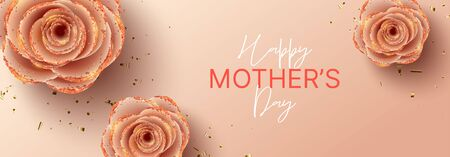Happy Mothers Day horizontal banner template. Holiday greeting card with realistic 3d gentle flowers with golden sand. Vector illustration with pink paper roses and gold confetti.