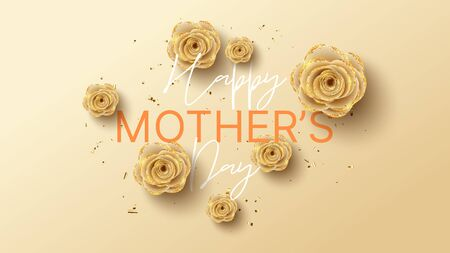 Happy Mother's Day banner. Holiday greeting card with realistic 3d gentle flowers with golden sand. Vector illustration with paper roses and gold confetti. Zdjęcie Seryjne - 144175194