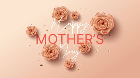 Happy Mother's Day banner template. Holiday greeting card with realistic 3d gentle flowers with golden sand. Vector illustration with paper pink roses and gold confetti. Zdjęcie Seryjne - 143854105