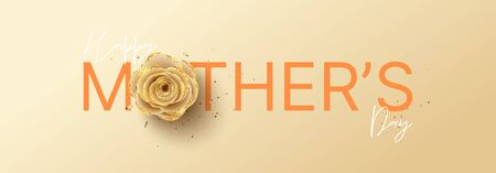 Happy Mother's Day horizontal banner. Holiday greeting card with realistic 3d gentle flower with golden sand. Vector illustration with paper rose and gold confetti. Ilustracja