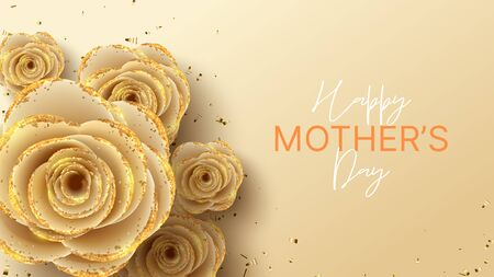 Happy Mother's Day horizontal banner. Holiday greeting card with realistic 3d gentle flowers with golden sand. Vector illustration with paper roses and gold confetti. Ilustracja