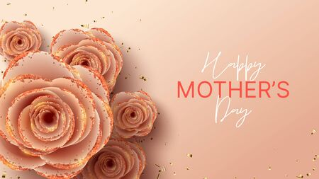Happy Mother's Day horizontal banner template. Holiday greeting card with realistic 3d gentle flowers with golden sand. Vector illustration with pink paper roses and gold confetti.