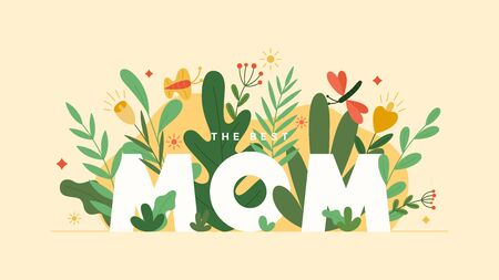 Happy Mother's Day card. Holiday greeting banner with colorful flowers and leaves. Elegant spring floral background. Vector illustration. Ilustracja