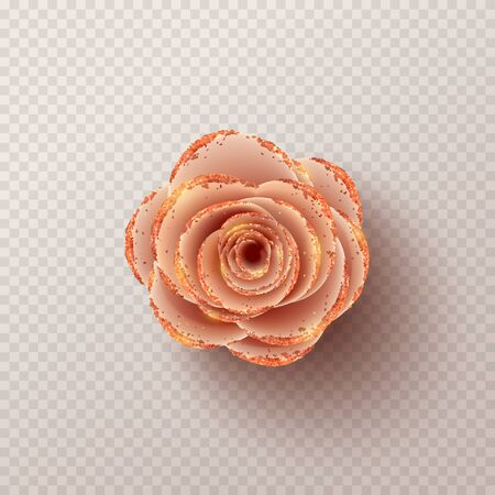 Pink paper flower isolated on checkered background. Realistic 3d gentle flower with golden sand. Vector illustration. Zdjęcie Seryjne - 144334003