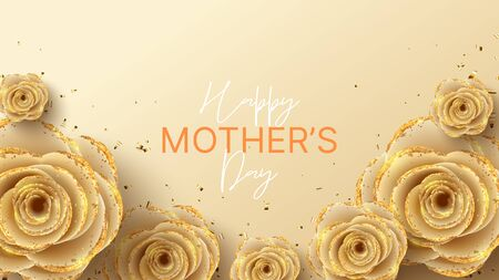Happy Mother's Day banner. Holiday greeting card with realistic 3d gentle flowers with golden sand. Vector illustration with paper roses and gold confetti. Ilustracja