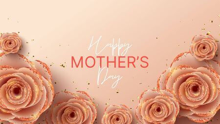 Happy Mother's Day banner template. Holiday greeting card with realistic 3d gentle flowers with golden sand. Vector illustration with paper pink roses and gold confetti. Zdjęcie Seryjne - 144786812