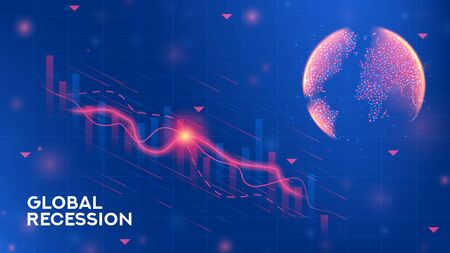 Global recession banner template. Background concept with falling stock charts and financial diagrams. Vector illustration with 3d world globe on blue background. Zdjęcie Seryjne - 144786813