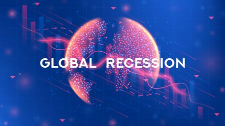 Global recession web banner. Background concept with falling stock charts and financial diagrams. Vector illustration with 3d world globe on blue background.