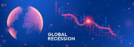 Global recession banner concept. Background concept with falling stock charts and financial diagrams. Vector illustration with 3d world globe on blue background.