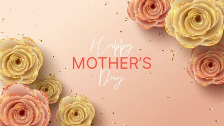 Happy Mother's Day banner. Holiday greeting card with realistic 3d gentle flowers with golden sand. Vector illustration with paper roses and gold confetti. Zdjęcie Seryjne - 144406304