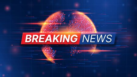 Breaking News banner template. World Global TV news background design. Banner concept for broadcast channels or internet tv. Vector illustration with 3d world globe on blue background. Zdjęcie Seryjne - 144786817