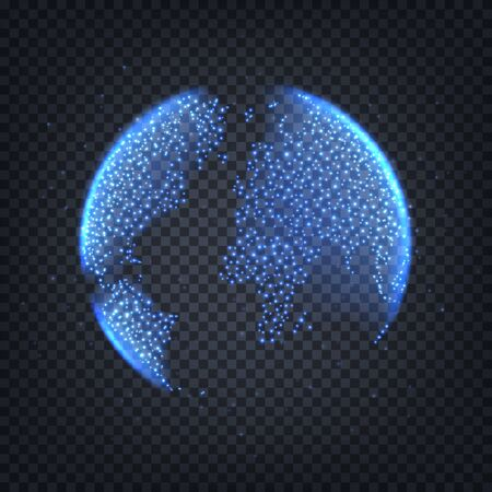 World globe isolated on checkered background. 3d world globe with glowing blue flashes. Vector illustration.
