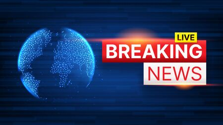 Breaking News banner template. World Global TV news background design. Banner concept for broadcast channels or internet tv. Vector illustration with 3d world globe on blue background. Zdjęcie Seryjne - 144786831