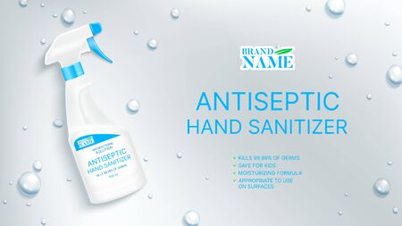 Antiseptic hand sanitizer promo banner. Antibacterial hand sanitizer. Realistic spray bottle with antibacterial liquid. Vector illustration.