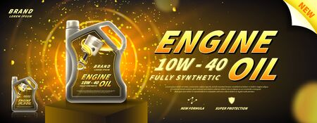 Engine oil advertisement banner. Vector illustration with realistic oil canister on pedestal on bright background. 3d ads template. Zdjęcie Seryjne - 145873409