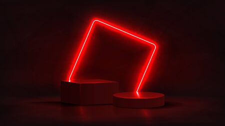 Abstract neon banner with pedestal. 3d podium with red neon square. Abstract background for promotion goods. Vector illustration with blank space. Minimal concept banner. Mockup template.