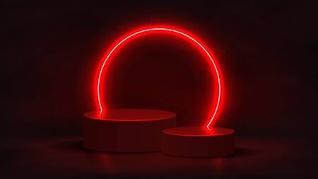 Abstract neon background with pedestal. 3d podium with red neon circle. Abstract background for promotion goods. Vector illustration with blank space. Minimal concept banner. Mockup template. Zdjęcie Seryjne - 145352959