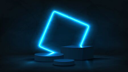 Abstract neon banner with pedestal. 3d podium with blue neon square. Abstract background for promotion goods. Vector illustration with blank space. Minimal concept banner. Mockup template. Zdjęcie Seryjne - 146221126