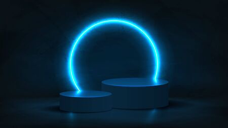 Abstract neon background with pedestal. 3d podium with blue neon circle. Abstract background for promotion goods. Vector illustration with blank space. Minimal concept banner. Mockup template. Zdjęcie Seryjne - 146221128