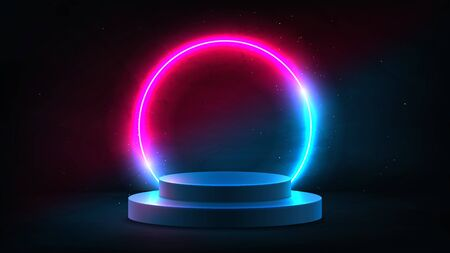 Abstract neon background with pedestal. 3d podium with pink and blue neon circle. Dark background for promotion goods. Vector illustration with blank space. Minimal concept banner. Mockup template.