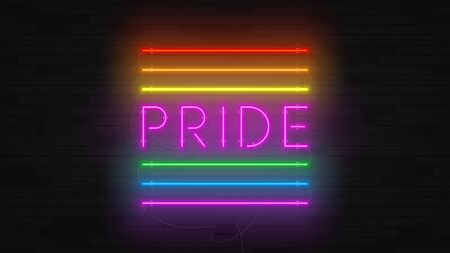 Rainbow neon  flag concept. Realistic bright neon symbol of Pride community. Holiday banner with glowing text. Vector illustration. Human rights and tolerance. Ilustracja