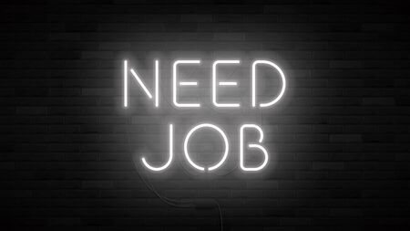Need job concept banner template. Realistic bright neon sign. Promo banner for look for work. Vector illustration. Ilustracja