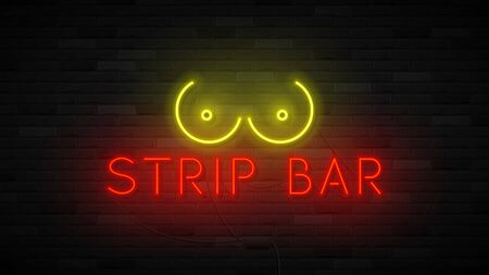 Neon strip bar label template. Bright symbol with neon breast. Striptease club concept icon isolated on dark brick wall. Vector illustration. Ilustracja
