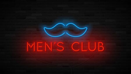 Neon men's club label template. Bright symbol with neon moustache. Striptease club concept icon isolated on dark brick wall. Vector illustration. Zdjęcie Seryjne - 146958115
