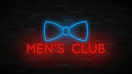 Neon men's club symbol template. Bright label with neon bowtie. Striptease club concept icon isolated on dark brick wall. Vector illustration. Ilustracja